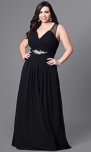 Image of long v-neck plus-size prom dress with jewel accents. Style: DQ-9539PO Detail Image 2