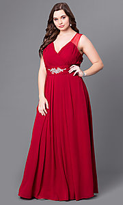 Image of long v-neck plus-size prom dress with jewel accents. Style: DQ-9539PO Detail Image 1