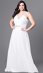 Image of long v-neck plus-size prom dress with jewel accents. Style: DQ-9539PO Front Image