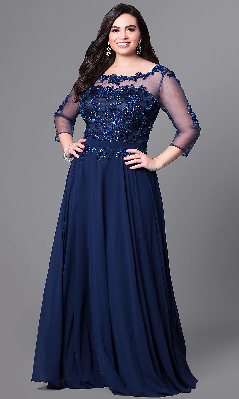 formal plus size lace applique prom dress promgirl. Black Bedroom Furniture Sets. Home Design Ideas