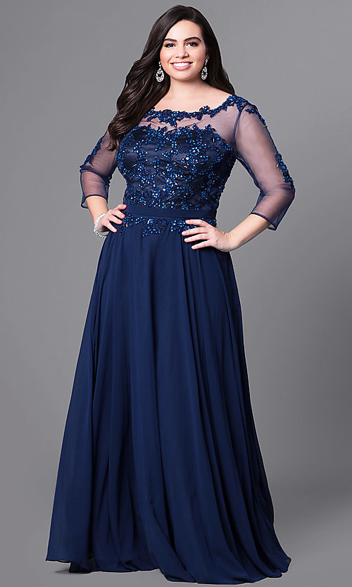 1d28bda8a41d Image of 3/4 sleeve illusion-mesh long plus-size prom dress.