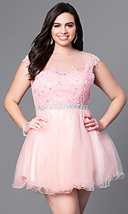 Short Plus Size Prom Dress with Square Illusion Neckline