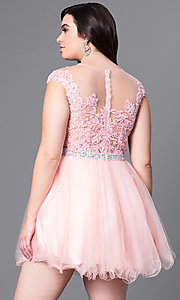 Image of short plus homecoming dress with illusion neckline. Style: DQ-9489P Back Image