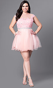 Image of short plus homecoming dress with illusion neckline. Style: DQ-9489P Detail Image 2