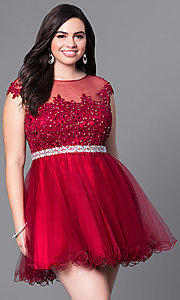 Image of short plus homecoming dress with illusion neckline. Style: DQ-9489P Front Image