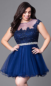 Image of short plus homecoming dress with illusion neckline. Style: DQ-9489P Detail Image 3