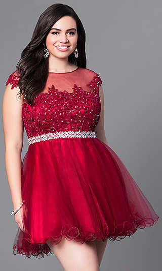 Short Plus Homecoming Dress with Illusion Neckline