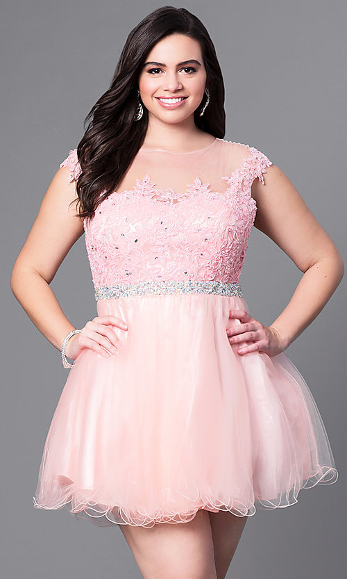Image of short plus homecoming dress with illusion neckline. Style: DQ-9489P Detail Image 1