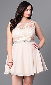 Image of short plus-size party dress with v-back lace bodice. Style: DQ-9659P Front Image