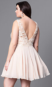 Image of short plus-size party dress with v-back lace bodice. Style: DQ-9659P Back Image
