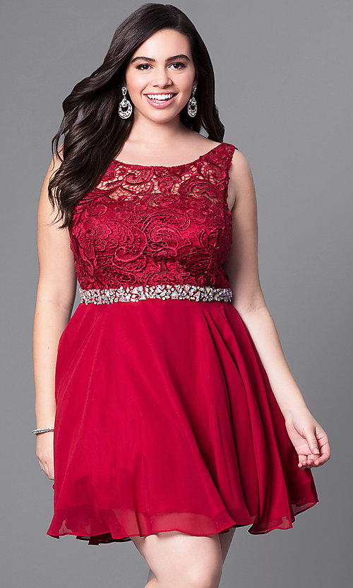 Image of short plus-size party dress with v-back lace bodice. Style: DQ-9659P Detail Image 1
