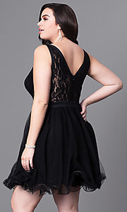 Image of short tulle plus-size prom dress with lace bodice. Style: DQ-9139P Back Image