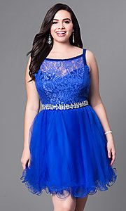 Image of short tulle plus-size prom dress with lace bodice. Style: DQ-9139P Front Image