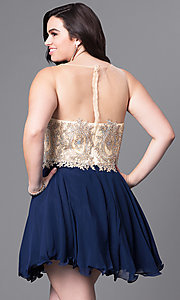 Image of rolled-hem illusion sweetheart plus-size party dress. Style: DQ-9552P Back Image