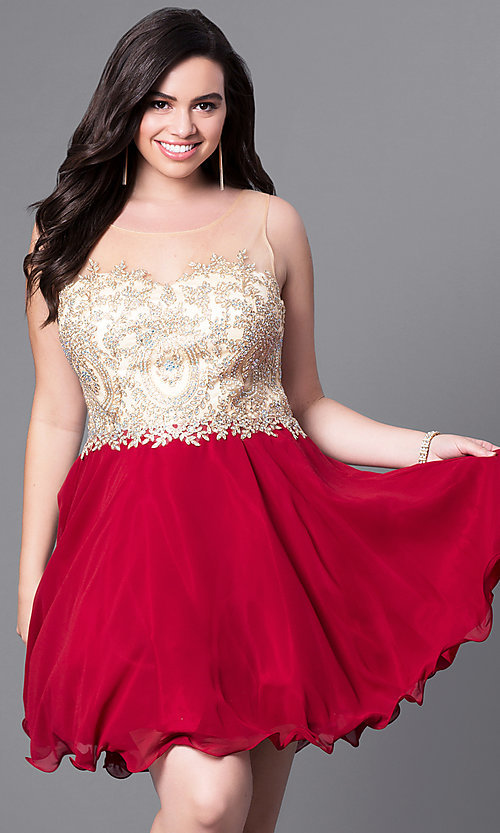 Image of rolled-hem illusion sweetheart plus-size party dress. Style: DQ-9552P Detail Image 2
