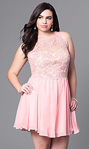Image of short plus-size prom dress with lace applique. Style: DQ-9102P Front Image