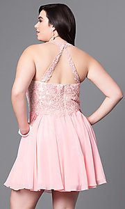 Image of short plus-size prom dress with lace applique. Style: DQ-9102P Back Image