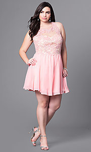 Image of short plus-size prom dress with lace applique. Style: DQ-9102P Detail Image 1