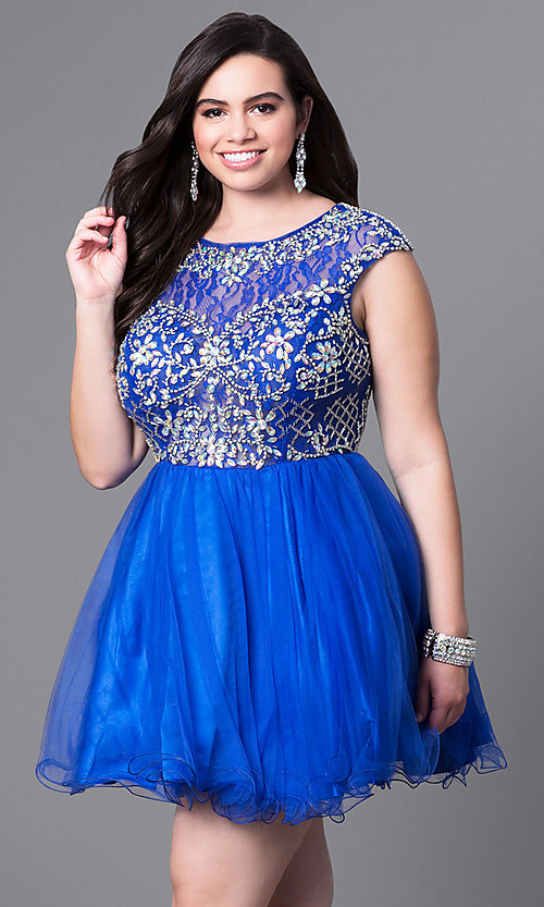 Image of plus-size cap-sleeve short prom dress with beads. Style: DQ-9149P Front Image