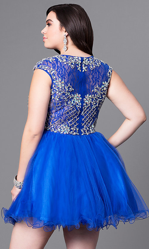 Image of plus-size cap-sleeve short prom dress with beads. Style: DQ-9149P Back Image