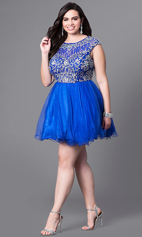 Image of plus-size cap-sleeve short prom dress with beads. Style: DQ-9149P Detail Image 1