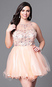 Image of short babydoll style plus-size party dress with beads. Style: DQ-9179P Front Image
