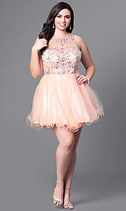 Image of short babydoll style plus-size party dress with beads. Style: DQ-9179P Detail Image 1