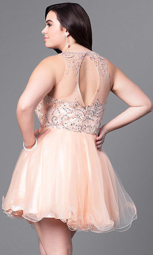 Image of short babydoll style plus-size party dress with beads. Style: DQ-9179P Back Image
