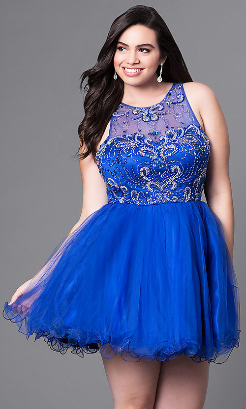 Image of short babydoll style plus-size party dress with beads. Style: DQ-9179P Detail Image 3