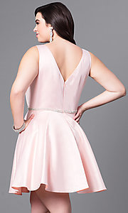 Image of plus-size v-neck party dress with short satin skirt. Style: DQ-9504P Back Image