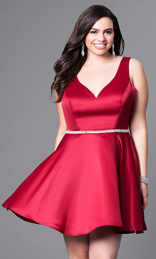 Image of plus-size v-neck party dress with short satin skirt. Style: DQ-9504P Detail Image 3