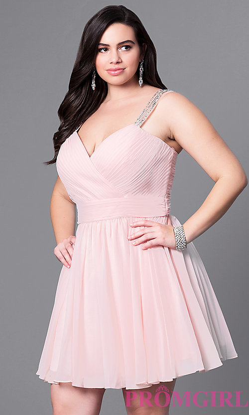 Image of corset sweetheart short plus-size dress with ruching. Style: DQ-9472P Detail Image 1