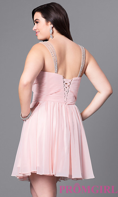Image of corset sweetheart short plus-size dress with ruching. Style: DQ-9472P Back Image