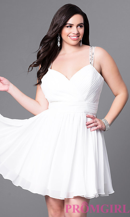 Image of corset sweetheart short plus-size dress with ruching. Style: DQ-9472P Detail Image 2