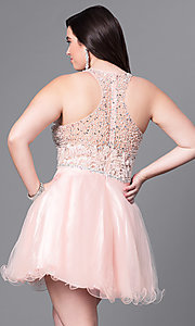 Image of plus-size racerback babydoll party dress. Style: DQ-9461P Back Image