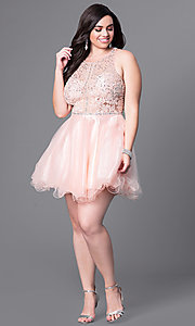 Image of plus-size racerback babydoll party dress. Style: DQ-9461P Detail Image 1