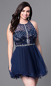 Image of plus-size racerback babydoll party dress. Style: DQ-9461P Detail Image 2