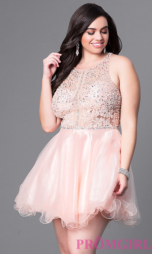 Image of plus-size racerback babydoll party dress. Style: DQ-9461P Front Image