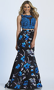 Blue Floral Print Two Piece Prom Dress