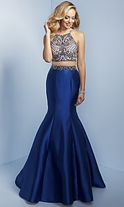 Two-Piece Trumpet Skirt Prom Dress with Beaded Top
