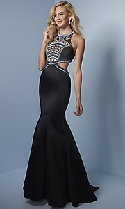 High Neck Long Prom Dress with Beaded Bodice