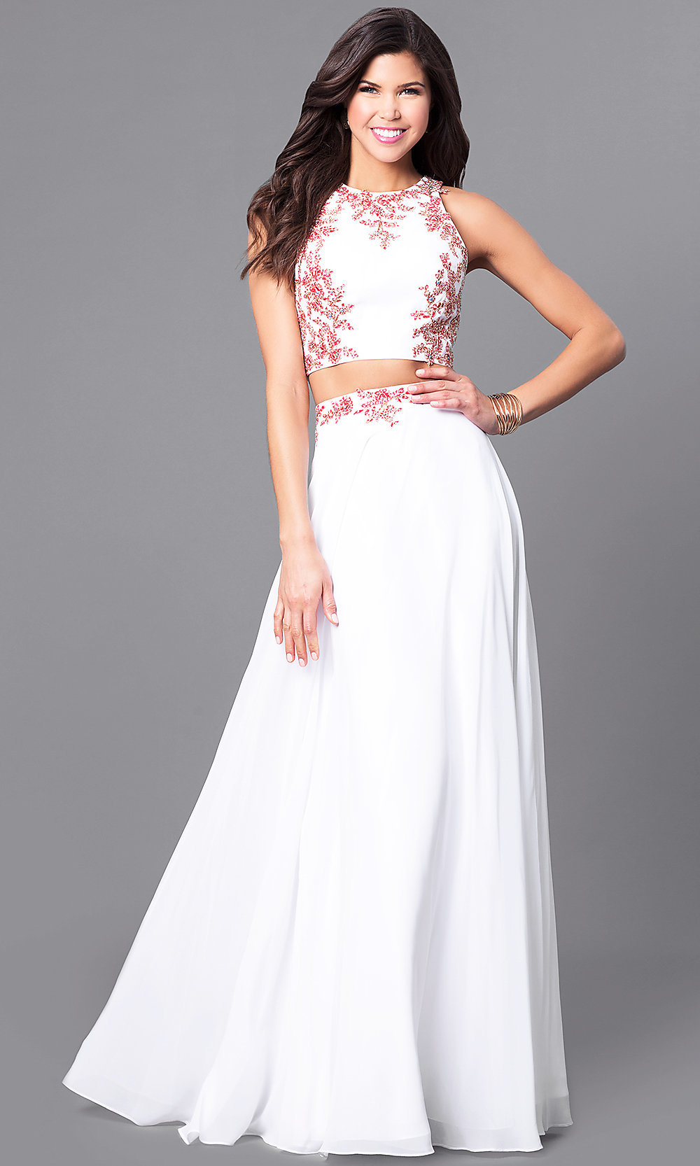 Long Off White Two-Piece Prom Dress - PromGirl