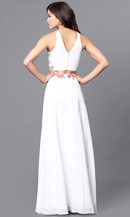 Image of long two-piece lace-applique prom dress in off white. Style: DQ-9911 Back Image
