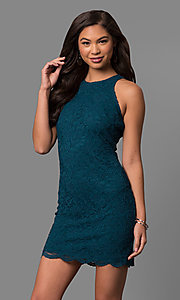 Short Peacock Blue Lace Sheath Party Dress