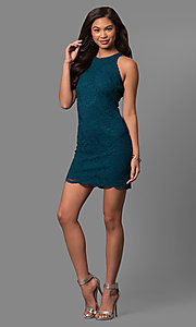 Image of short peacock blue lace sheath party dress. Style: JU-49967 Detail Image 1