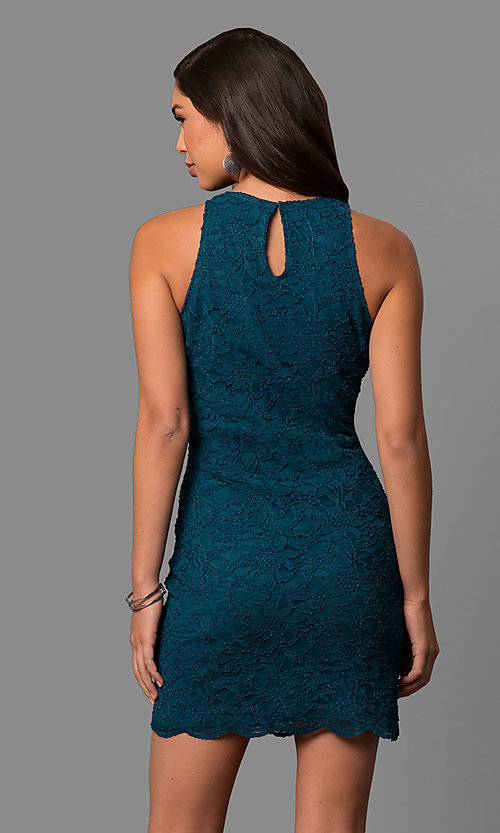 Image of short peacock blue lace sheath party dress. Style: JU-49967 Back Image