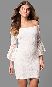 Short 3/4 Sleeve Off-the-Shoulder Graduation Dress