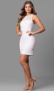 Image of textured short homecoming dresses with high neckline. Style: JU-10116 Detail Image 3