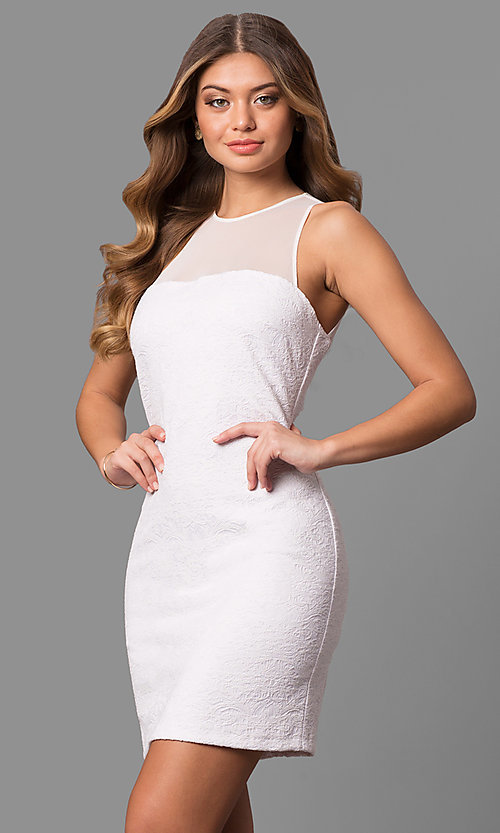 Image of textured short homecoming dresses with high neckline. Style: JU-10116 Detail Image 2