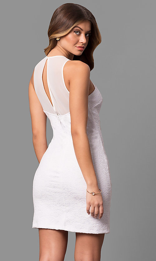 Image of textured short homecoming dresses with high neckline. Style: JU-10116 Back Image